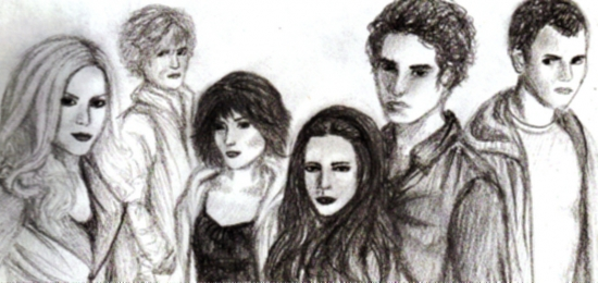Robert Pattinson, Kristen Stewart, Nikki Reed, Jackson Rathbone, Kellan Lutz, Ashley Greene par PiranhaJuicySnobb